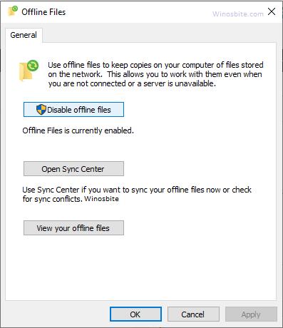 Отключить офлайн-файлы центра синхронизации
