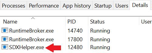 информация о приложении sdxhelper.exe