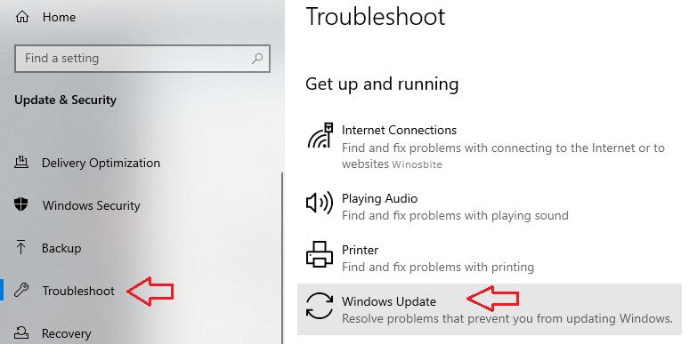 Устранение неполадок обновления Windows