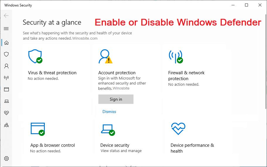Включение или отключение антивируса Защитника Windows