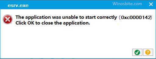 Код ошибки приложения esrv.exe 0xc0000142