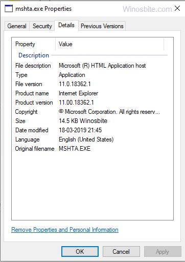 Информация о файле mshta.exe