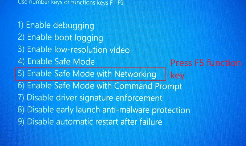 Нажмите f5, чтобы войти в безопасный режим с сетью.