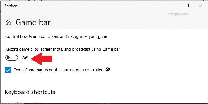 Отключить игровую панель в Windows 10