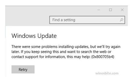 Ошибка обновления Windows 0x800705b4