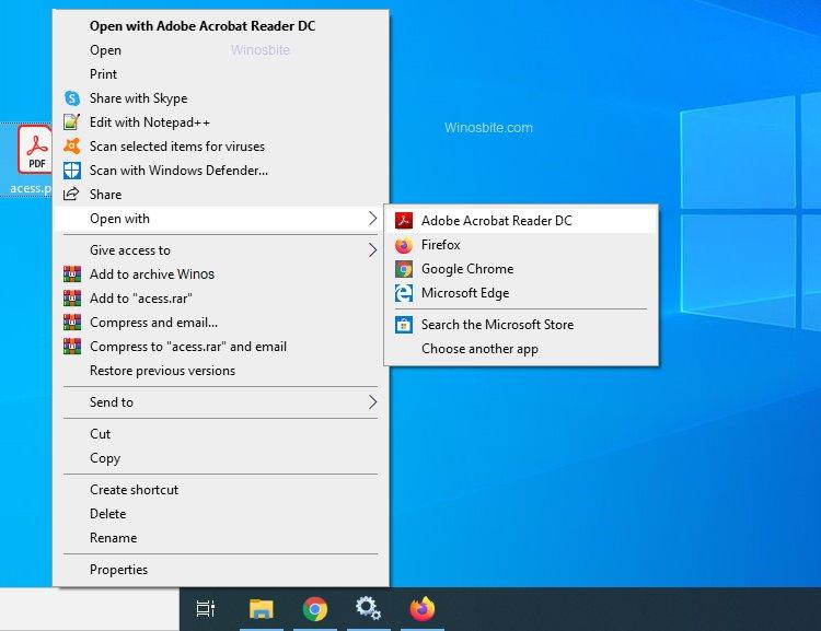 Изменить программу чтения PDF-файлов в Windows 10 по умолчанию