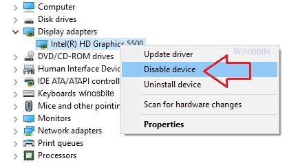 Отключить Intel HD Graphics
