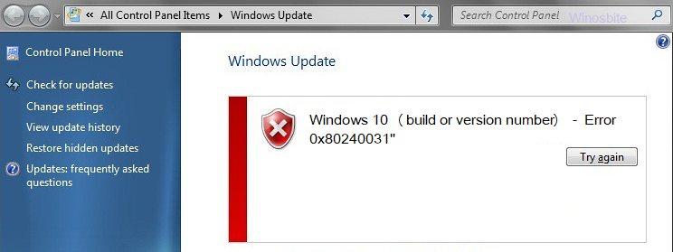 Ошибка обновления Windows 10 0x80240031