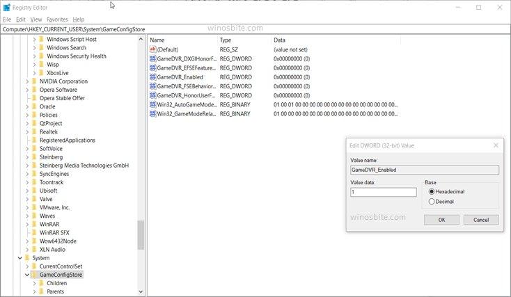 Hkey текущее пользовательское программное обеспечение Microsoft windows текущая версия gamedvr