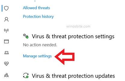 Управление настройками защиты от вирусов и угроз