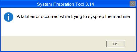 Инструмент подготовки системы - произошла фатальная ошибка при попытке sysprep машины.