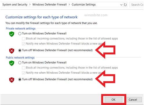 Отключите брандмауэр Защитника Windows.