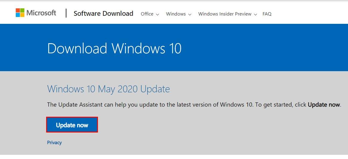 Инструмент обновления Windows с официального сайта