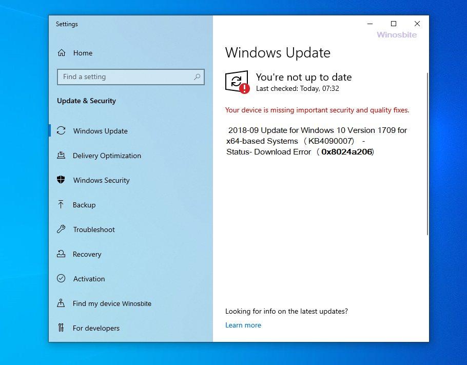Код ошибки обновления Windows 0x8024a206