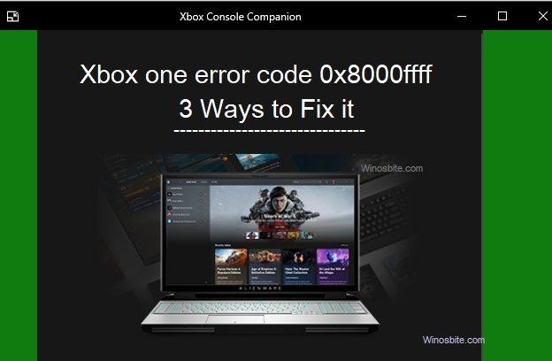 Код ошибки Xbox 0x8000ffff