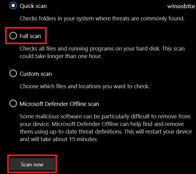 Полная проверка в Windows 10