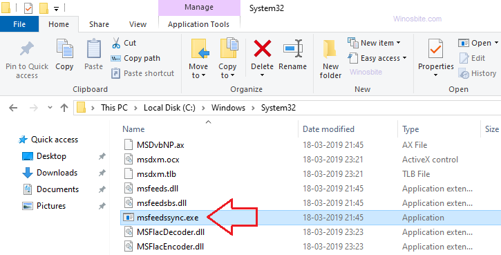 приложение процесса msfeedssync.exe