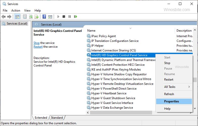 Отключить службу панели управления графикой Intel HD