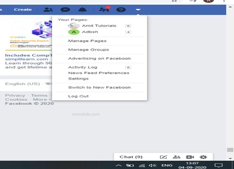 страница на фэйсбуке