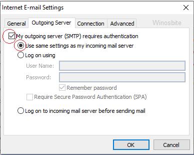 Настройки сервера исходящей почты Outlook