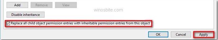 Заменить все записи разрешений дочернего объекта наследуемыми записями разрешений от этого объекта