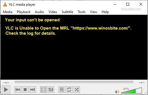 VLC не может открыть ошибку MRL