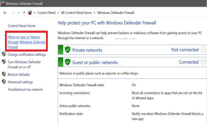 Защитник Windows разрешает приложение или функцию