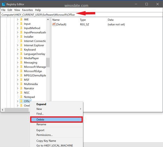 удалить программное обеспечение Microsoft Office