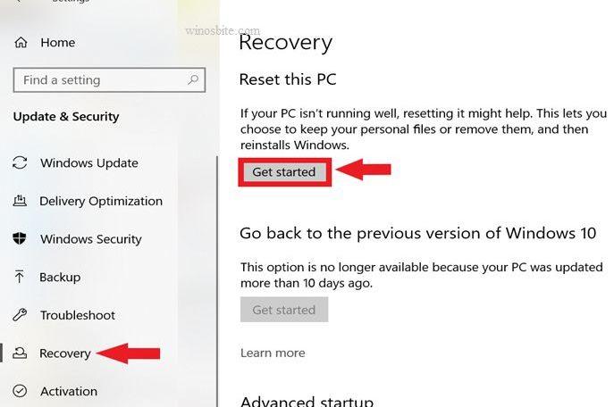 Восстановление сбросить этот компьютер