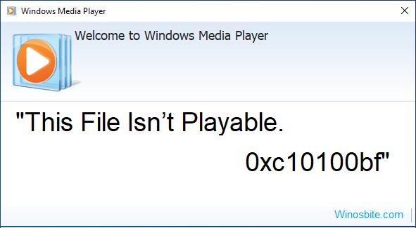 Этот файл не воспроизводится 0xc10100bf