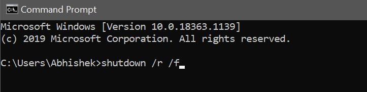 команда для принудительной перезагрузки ПК с Windows