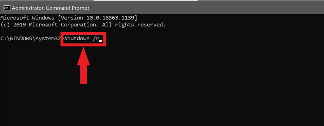 команда для перезагрузки компьютера с Windows
