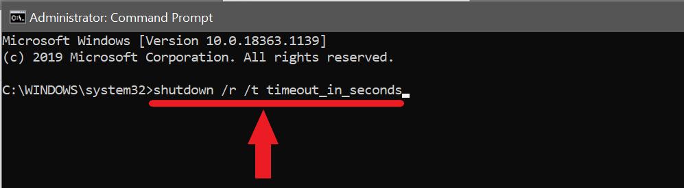 команда для перезагрузки ПК с Windows в желаемое время