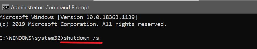 команда для выключения Windows ПК