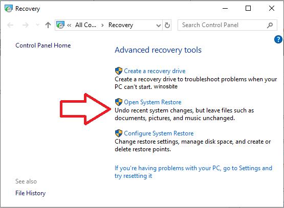 Открыть опцию восстановления системы в Windows 10