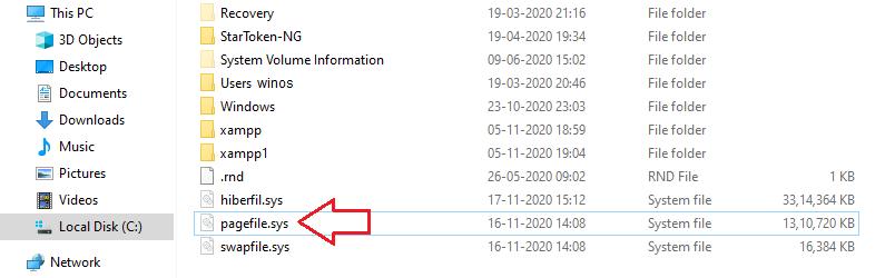 pagefile.sys в Windows 10