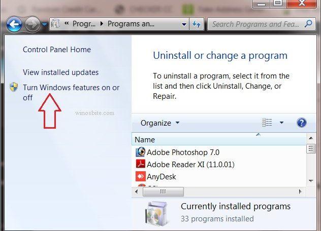 Программа и функции включают или выключают функции Windows
