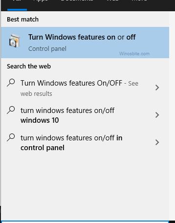 Включение и выключение функций Windows