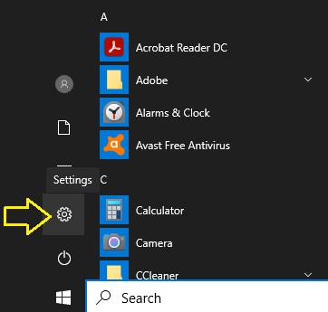 Шестеренка настроек Windows
