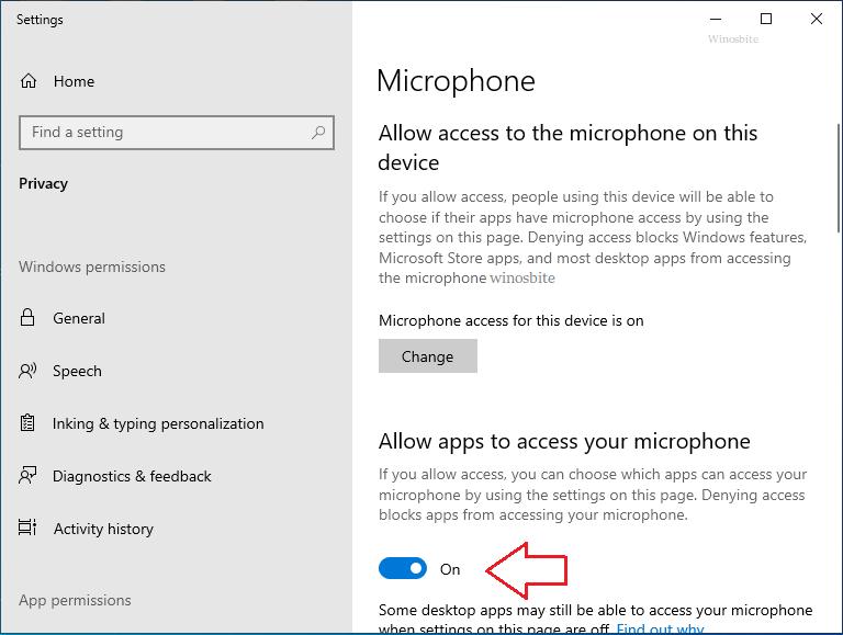 Разрешить приложениям доступ к вашему микрофону в Windows 10