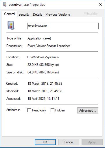 Свойства файла eventvwr.exe