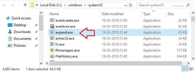 Расположение файла expand.exe
