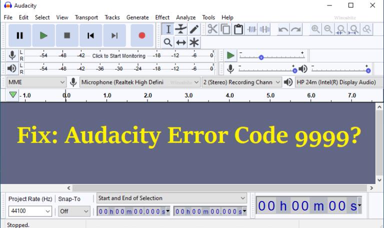 Исправлено: код ошибки Audacity 9999.