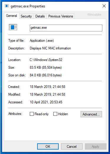 getmac.exe свойства файла
