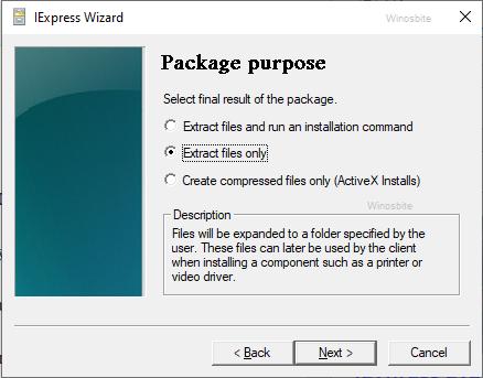 Только мастер iexpress распаковывает файлы