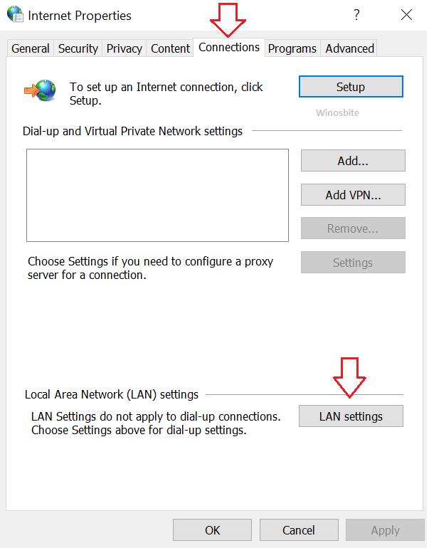 Вкладка подключений в свойствах Интернета