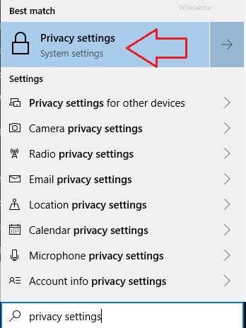 настройки конфиденциальности в Windows 10