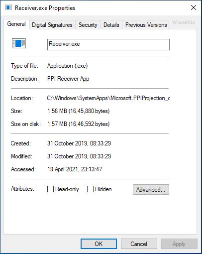 Свойства файла Receiver.exe