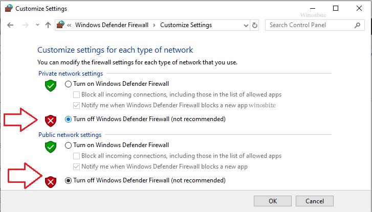 отключить брандмауэр защитника Windows в Windows 10