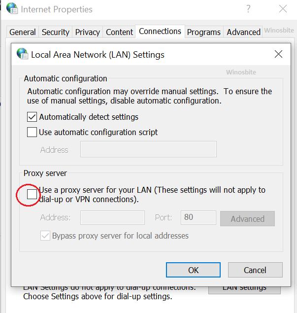 Снимите флажок Интернет-свойств прокси-сервера